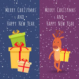 Merry Christmas and Happy New Year. Deer. Gifts. Merry Christmas and Happy New Year. Collection of two banners. Picture of many festival boxes with presents Stock Photography