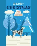 Merry Christmas and Happy New Year Design card with Dalmatian Royalty Free Stock Photo