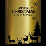 Merry christmas and Happy new year design of reindeer on gold me. Tal background vector illustration Royalty Free Stock Images