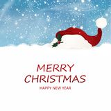 Merry Christmas. Happy new year. Design template for blank sign with falling snow, snowflakes, Christmas Red santa hat. Royalty Free Stock Photography