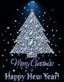 Merry Christmas and Happy New year Diamond banner with xmas tree. Vector illustration royalty free illustration