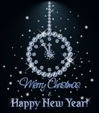 Merry Christmas and Happy New year Diamond card with xmas clock, vector. Illustration stock illustration