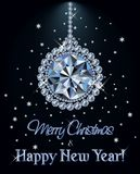 Merry Christmas and Happy New year Diamond greeting card with xmas ball. Vector illustration stock illustration