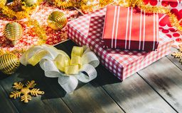 Merry Christmas and Happy new year DIY gift boxes. Still life of Merry Christmas and Happy new year DIY gift boxes Stock Photography