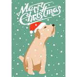 Merry christmas happy new year dog card vector illustration Stock Photo