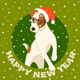 Merry christmas happy new year dog card vector illustration Royalty Free Stock Photo