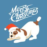 Merry christmas happy new year dog card vector illustration Royalty Free Stock Image