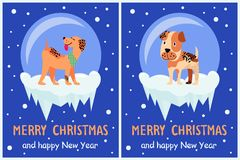Merry Christmas and Happy New Year Doggy Congrats. Set of posters with 2018 year symbol due Chinese calendar. Vector illustration with cute terriers Royalty Free Stock Photo