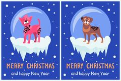 Merry Christmas and Happy New Year Doggy Congrats. Set of posters with 2018 year symbol due Chinese calendar, vector illustration with spotted puppies Royalty Free Stock Photos