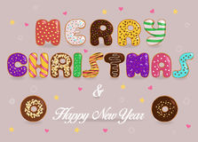 Merry Christmas and Happy New Year. Donuts font Stock Photos