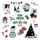 Merry Christmas and Happy New year doodles. cute stuff for festive in doodles styles. Stock Image