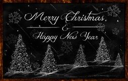 Merry Christmas Happy New Year Drawing blackboard. Merry Christmas Happy New Year Drawing on blackboard Royalty Free Stock Image