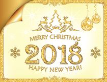 Merry Christmas and Happy New year 2018! elegant golden greeting card Royalty Free Stock Photography