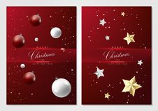 Merry Christmas and happy new year elements red background card. Template vector design vector illustration