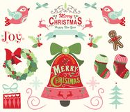 Merry Christmas and Happy New Year Elements stock illustration