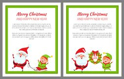 Merry Christmas Santa and Sled Vector Illustration. Merry Christmas and happy New Year, Elf sitting on sled pulled by Santa Claus, winter characters standing Royalty Free Stock Images