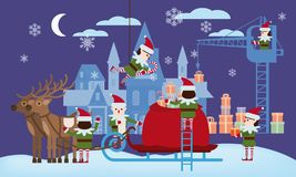 Merry Christmas and Happy New Year. Elves helpers collect gifts in the bag of Santa Claus, sleigh with fabulous deer. The palace of Santa in the background royalty free illustration