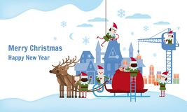 Merry Christmas and Happy New Year. Elves helpers collect gifts in the bag of Santa Claus, sleigh with fabulous deer. The palace of Santa in the background vector illustration