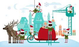 Merry Christmas and Happy New Year. Elves helpers collect gifts in the bag of Santa Claus, sleigh with fabulous deer. The palace of Santa in the background stock illustration