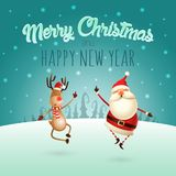 Merry Christmas and Happy New Year - Happy expresion of Santa Claus and Reindeer - they jumping straight up and bring their heels royalty free illustration