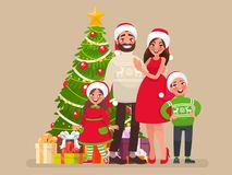 Merry Christmas and a Happy New Year. Family and Christmas tree with gifts. Template for congratulations on the holiday. Vector illustration in cartoon style Royalty Free Stock Photos