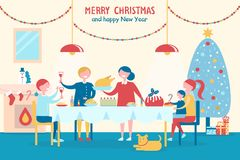 Merry Christmas and Happy New Year with Family. Merry Christmas and Happy New Year poster with family that has festive dinner together besides decorated holiday Stock Image