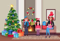 Merry christmas happy new year family sitting living room pine tree fireplace home interior decoration winter holiday. Concept flat horizontal vector vector illustration