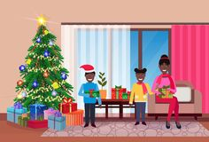Merry christmas happy new year family sitting living room pine tree home interior decoration winter holiday concept flat. Horizontal vector illustration royalty free illustration