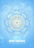 Merry christmas happy new year fancy blue winter snowflake shape in tribal style. EPS10 vector Stock Image