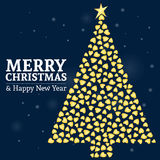 Merry christmas 01. Merry christmas and happy new year fancy gold xmas tree in hipster hearts triangle style. Ideal for greeting card or elegant holiday party stock illustration