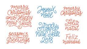 Merry Christmas and Happy New Year line art text. Merry Christmas, Happy New Year 2018, Feliz Navidad, Feliz Natal, Joyeux Noel, Seasons greetings line art Stock Images