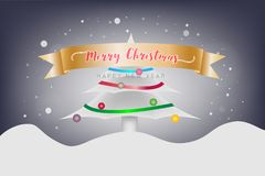 Merry Christmas and Happy New Year festival concept. Christmas c. Merry Christmas and Happy New Year festival concept. The snow mountain and snowflake with Royalty Free Stock Photography