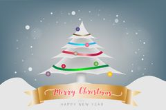 Merry Christmas and Happy New Year festival concept. Christmas c. Merry Christmas and Happy New Year festival concept. The snow mountain and snowflake with Stock Photography