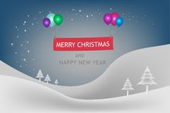 Merry Christmas and Happy New Year festival concept. The snow mountain and snowflake in winter seasonal with balloon multi color and text decoration banner Royalty Free Stock Photography