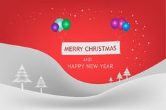 Merry Christmas and Happy New Year festival concept. The snow mountain and snowflake in winter seasonal with balloon multi color and text decoration banner Stock Photos