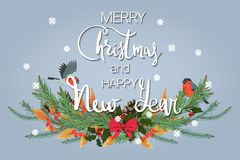 Merry Christmas and Happy New Year. Festive background with fir branches, a pair of cute birds and a snowfall stock illustration