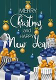 Merry Christmas and Happy New Year. Festive card with gifts vector illustration