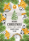 Merry Christmas and Happy New Year. Festive design. Gift boxes and other holiday objects on rustic wooden background and under the spruce branches. Vector Stock Photos