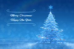 «Merry Christmas and Happy New Year» Festive Design. Graphic composition, based on 3D-rendered scene Stock Photography