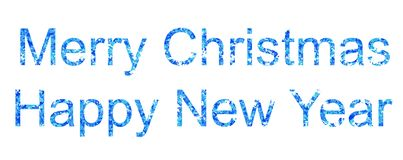 Merry christmas and happy new year festive greeting. Card, blue inscription Royalty Free Stock Images