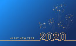 Merry christmas and happy new year 2020 festive greeting card, poster and banner design with golden text and confetti or fireworks. On blue background. Year of vector illustration