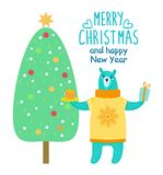 Merry Christmas and Happy New Year Festive Poster. With bear holding present and cake near decorated spruce. Vector illustration with congratulation from animal Stock Image