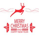 Merry Christmas and Happy New Year Festive Poster. With silhouette of deer that jumps and holly plants vector illustrations on white background Stock Photo