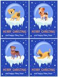 Merry Christmas and Happy New Year Festive Posters. With dogs inside glass bubbles with bottom covered with ice cartoon vector illustrations collection Stock Photo