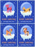 Merry Christmas and Happy New Year Festive Posters. With dogs inside glass bubbles with bottom covered with ice cartoon vector illustrations collection Royalty Free Stock Image