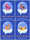Merry Christmas and Happy New Year Festive Posters. With dogs inside glass bubbles with bottom covered with ice cartoon vector illustrations collection Stock Images