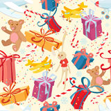 Merry Christmas and Happy New Year festive seamless pattern with. Vector illustration Merry Christmas and Happy New Year festive seamless pattern with presents royalty free illustration