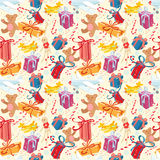 Merry Christmas and Happy New Year festive seamless pattern with. Vector illustration Merry Christmas and Happy New Year festive seamless pattern with presents stock illustration