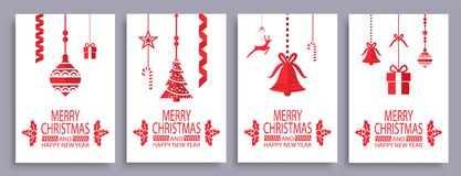 Merry Christmas and Happy New Year Festive Symbols. On white background. Vector illustration with lollipops and glass balls surrounding pines and bells Royalty Free Stock Image