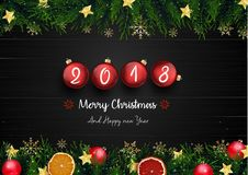 Merry christmas and happy new year 2018 with fir branches and red christmas balls. Illustration of Merry christmas and happy new year 2018 with fir branches and Royalty Free Stock Photography